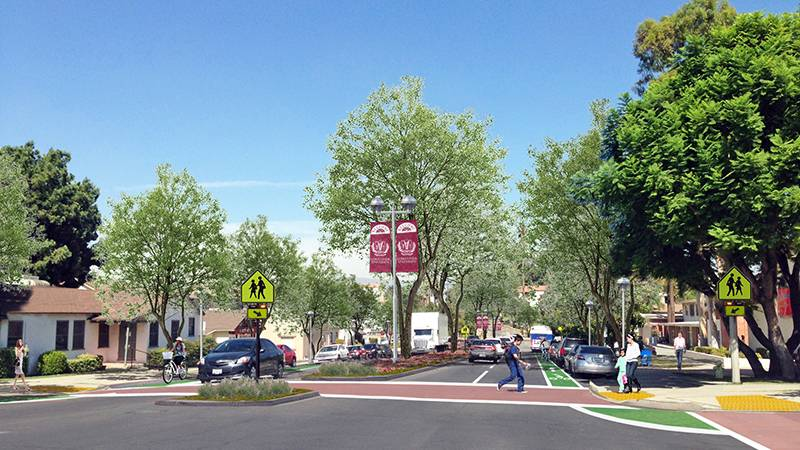 Trees along streets can create a welcoming, memorable urban space, as shown in these before-and-after illustrations of the Loma Linda University Health campus by Andrejs Galenieks, MArch, MPH.