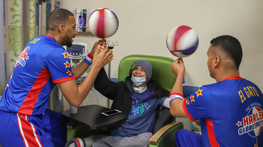 Harlem Globetrotters deliver Loma Linda University Children's Hospital patients a Valentine's Day surprise