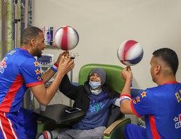 Harlem Globetrotters deliver Loma Linda University Children's Hospital patients a Valentine's Day surprise