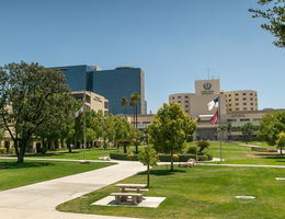 photo of university campus and hospital in background