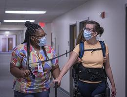 A patient receives rehabilitative treatment at Loma Linda University Medical Center East Campus.