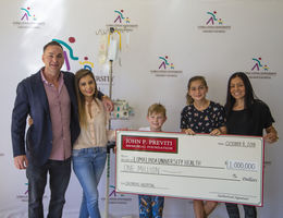 On behalf of the hospital, Loma Linda University Children's Hospital patient Josh Olson, 10, of Temecula, accepted a check for $1 million from The John P. Previti Memorial Foundation on Monday, Oct. 8.