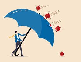 Man with big umbrella shielding from virual molecules