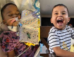 photo of young boy in hospital and out of hospital