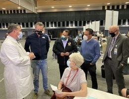 Governor Gavin Newsom visits community vaccine clinic