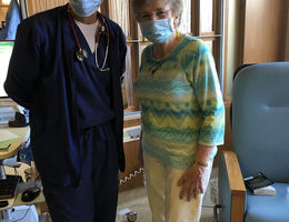 Left to right: Dr. Akhtari and Pat Giard