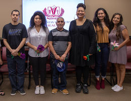 Forever linked (left to right): Tracy Newton, Asia Khem, Mauricio Reyes Valdes, Thya Broadway, Luis Jara, Josephine Save, Melody Save, Maria Gomez