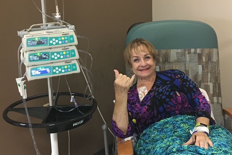 Michelle Arrigo receives her first round of infusion therapy.