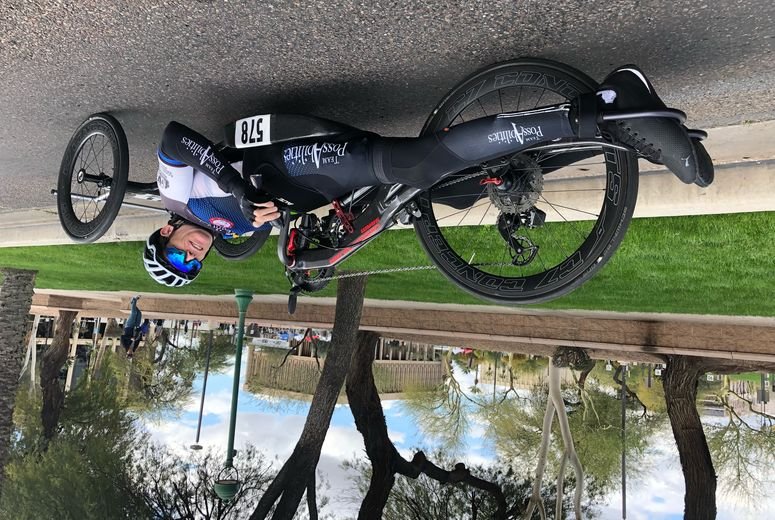 Brett on his para-cycle following a second place finish at the Criterium Race for the Valley of The Sun Stage Race, in Phoenix, Arizona.