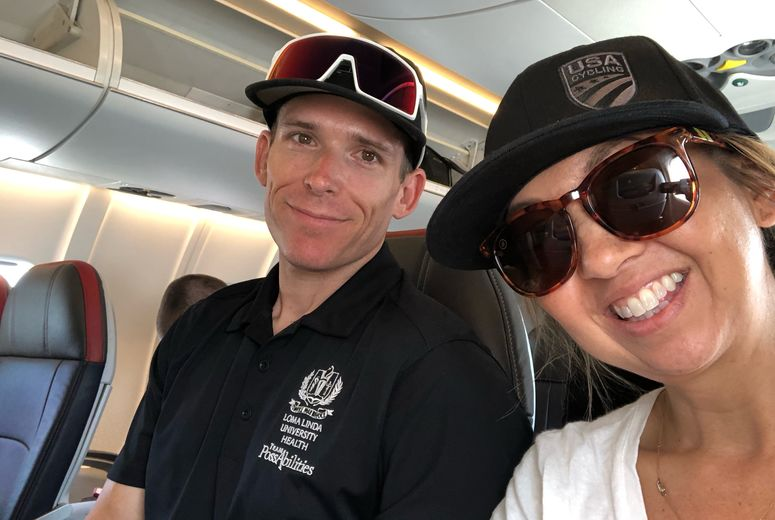 Brett and Nicole on their flight home from the Paracycling National Championships in Tennessee