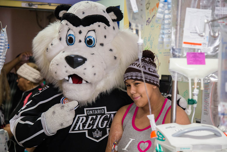 white tiger mascot and patient