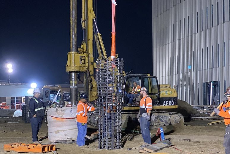 LLUH construction site at night
