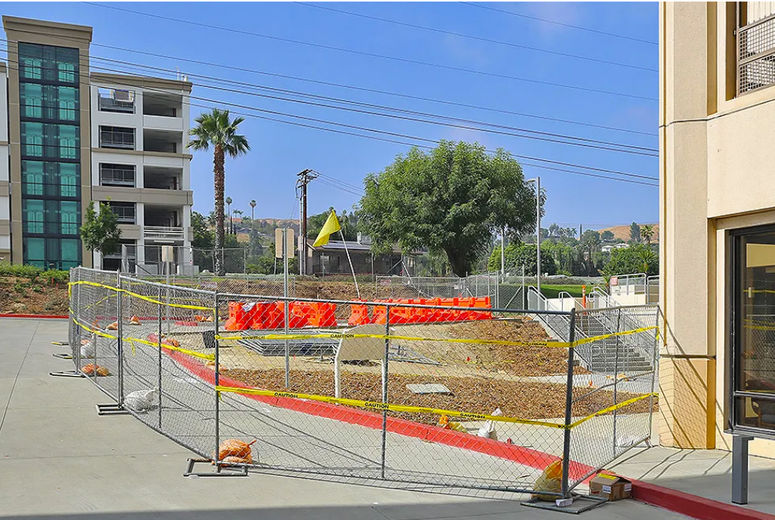 Site of new elevator tower