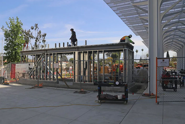 Valet parking building nears completion